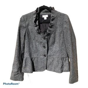 LOFT wool blend ruffle collar blazer 10P